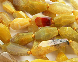 Yellow Agate Faceted Nugget 24-34x13-18mm