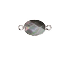 Black Lip Shell Faceted Oval Focal Link w/ Silver Finish 22x10mm