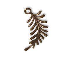 Vintaj Natural Brass Fern Curving Right Charm 26x27mm