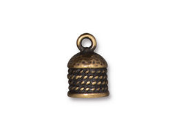 TierraCast Antique Brass (plated) Rope 8mm Cord End 16x11mm