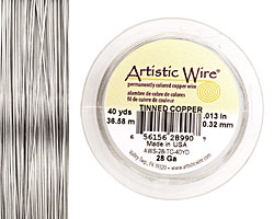 Artistic Wire Tinned Copper 28 gauge, 40 yards