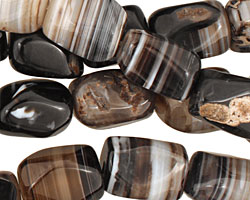 Black Sardonyx Faceted Tumbled Nugget 13-17x10-11mm
