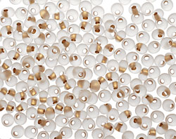 TOHO Frosted Crystal (with Gold Lining) Magatama 3mm Seed Bead