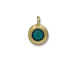 TierraCast Gold (plated) Stepped Bezel Charm w/ Emerald Crystal 12x17mm