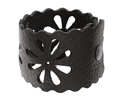 "The Lipstick Ranch Black Leather Cuff Bracelet w/ Floral Cut Out 2"" x 9"""