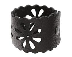 "The Lipstick Ranch Black Leather Cuff Bracelet w/ Floral Cut Out 2"" x 9"""