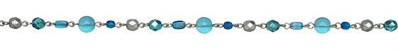 Czech Glass Glacier Blue Silver (plated) Bead Chain