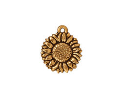 TierraCast Antique Gold (plated) Sunflower Charm 15x18mm