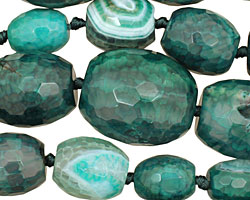 Sea Green Agate Faceted Rice Graduated 13-30x12-26mm