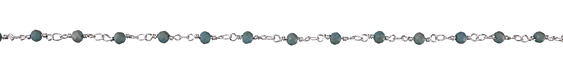Zola Elements Matte Deep Turquoise w/ Luster Crystal 4mm Imitation Rhodium (plated) Bead Chain