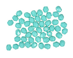 Czech Fire Polished Glass Opaque Turquoise Round 4mm