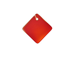 Cherry Red Recycled Glass Curved Diamond Square Pendant 18mm