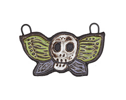 Gaea Ceramic Spring Mix Skull Moth Pendant 41x25mm
