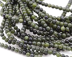 Green Serpentine (dark) Round 4mm