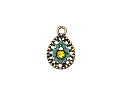 Zola Elements Antique Gold (plated) El Sol Filigree Teardrop Charm 11x17mm
