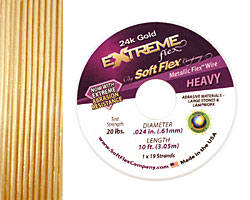 "Soft Flex Extreme 24K Gold .024"" (Heavy) 19 Strand Wire 10ft."