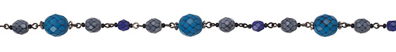 Czech Glass Ocean Snake Large Faceted Round Gunmetal (plated) Bead Chain