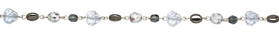 Czech Glass Blue Steel Silver (plated) Bead Chain