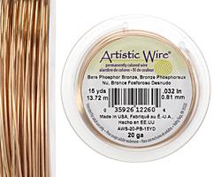 Artistic Wire Bare Phosphor Bronze 20 gauge, 15 yards