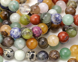 Multi Gemstone (Sodalite, Tiger Eye, Red Jasper, Aventurine) Round 10mm