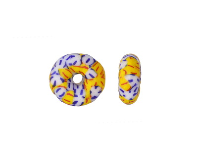 African Recycled Glass & Seed Bead Yellow, Blue & White Donut 4-6x13-15mm