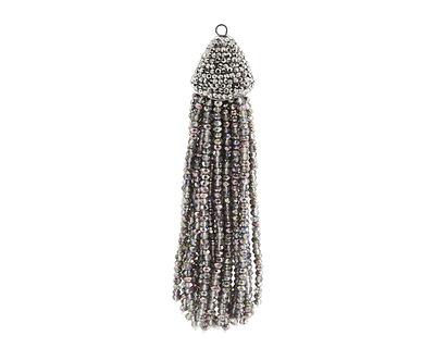 Black Diamond w/ Metallic Peacock Luster Crystal Tassel w/ Fanned Pave Cap 21x105mm