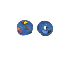 African Recycled Glass Peacock Confetti Round Bead 12-13mm