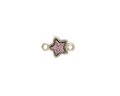 Metallic Bronze Crystal Druzy Star Link in Gold Finish Bezel 12x8mm