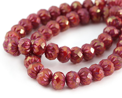 Czech Glass Bronzed Cranberry w/ Red Luster Cruller 7x9mm