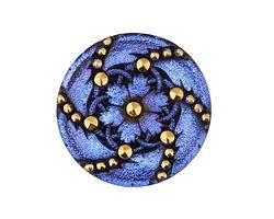 Czech Glass Electric Blue w/ Gold Daisy Spiral Button 31mm