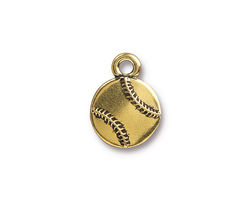 TierraCast Antique Gold (plated) Baseball Charm 13x17mm