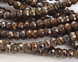Bronzite Faceted Rondelle 3-4x6mm