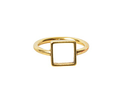 Nunn Design Antique Gold (plated) Open Frame Itsy Square Ring Size 6