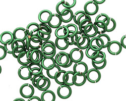 Green Enameled Copper Round Jump Ring 5mm, 18 gauge
