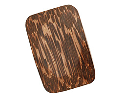Patikan Wood Faceted Rectangle Pendant 50x34mm