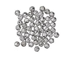 Czech Glass Silver English Cut Round 3mm
