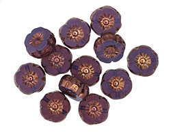Czech Glass Bronzed Plum Passion Hibiscus Coin 8mm