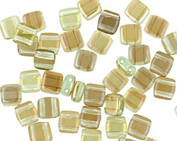 CzechMates Glass Twilight Peridot 2-Hole Tile 6mm