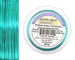 Artistic Wire Silver Plated Seafoam Green 26 gauge, 30 yards