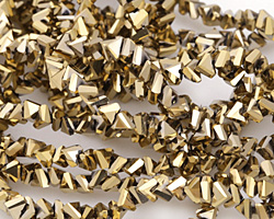 Metallic Gold Crystal Faceted Chevron 2x4mm