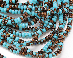 Synthetic Turquoise & Bronzite Rondelle 4mm