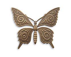 Vintaj Natural Brass Ornate Butterfly Pendant 36x30mm