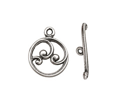 Antique Silver (plated) Circle w/ Swirls Toggle Clasp 18x15mm, 21mm bar