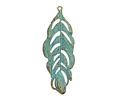 Patina Green Brass (plated) Ruffled Feather Pendant 25x70mm