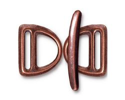 TierraCast Antique Copper (plated) Slotted D Ring Clasp Set 17x20mm, 30mm bar