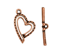 Antique Copper (plated) Stylized Heart Toggle Clasp 26x16mm, 28mm bar