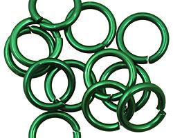 Green Anodized Aluminum Jump Ring 14mm, 14 gauge (9.6mm inside diameter)