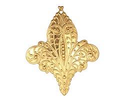 Brass Embellished Fleur de Lis Pendant 37x45mm