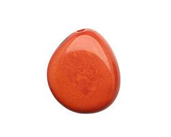 Tagua Nut Orange Flat Pebble 35-45x28-37mm
