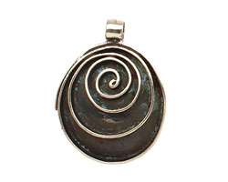 Saki White Bronze Spiral Drop Pendant 27x35mm